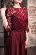Купить Вечернее платье в пол вишневого цвета с кружевным верхом и рукавами 3/4 в магазине женской одежды в Воронеже