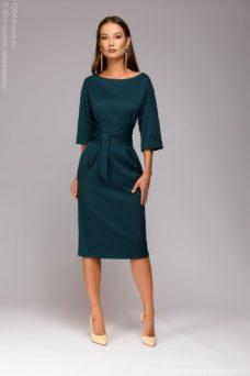 Зеленое платье миди с широким поясом купить в интернет-магазине