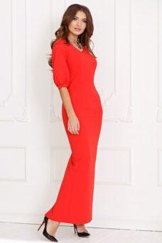 Длинное красное платье по фигуре с разрезом сзади и пышными рукавами купить в Воронеже