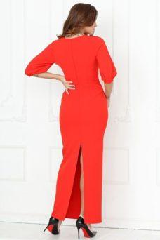 Длинное красное платье по фигуре с разрезом сзади и пышными рукавами купить в интернет-магазине