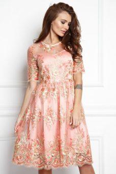 Коктейльное платье миди нежно-розового цвета с цветочной вышивкой купить в Воронеже