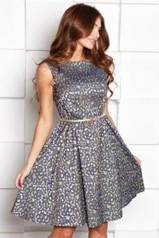 Короткое платье из жаккарда золотого цвета с синим цветочным принтом купить в Воронеже