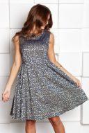 Короткое платье из жаккарда золотого цвета с синим цветочным принтом купить в интернет-магазине
