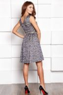 Купить Короткое платье из жаккарда золотого цвета с синим цветочным принтом в магазине женсккой одежды в Воронеже
