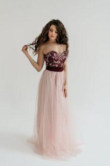 Платье-трансформер 2 в 1: футляр бордового цвета + юбка в пол цвета пудры купить в Воронеже