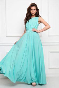 Вечернее платье в пол мятного цвета с пышной юбкой без рукавов купить в Воронеже