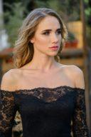 Купить Черное гипюровое платье длины миди с открытыми плечами в магазине женской одежды в Воронеже