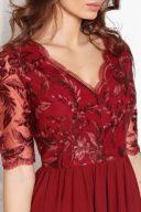 Купить Коктейльное платье цвета марсала с пышной юбкой и кружевным верхом в магазине женской одежды в Воронеже