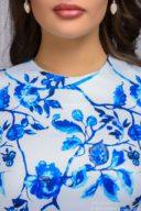 Купить Короткое белое платье с голубым цветочным принтом и рукавами 3/4 в магазине женской одежды в Воронеже