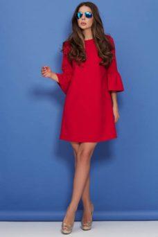 Красное платье мини свободного кроя с воланами на рукавах купить в интернет-магазине