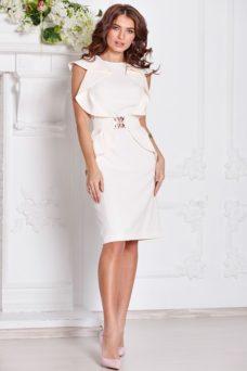 Платье-футляр цвета айвори с воланами и поясом без рукавов купить в интернет-магазине