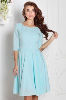 Платье миди ментолового цвета с пышной юбкой и рукавами 3/4 купить в Воронеже