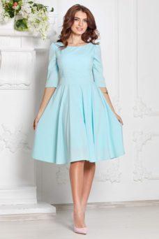 Платье миди ментолового цвета с пышной юбкой и рукавами 3/4 купить в интернет-магазине