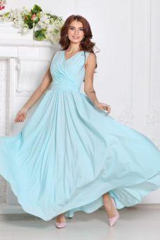 Платье в пол ментолового цвета с пышной юбкой без рукавов купить в Воронеже
