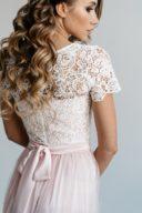 Заказать Платье в пол цвета пудры с пышной юбкой с фатином и кружевным верхом с бесплатной доставкой по Росссии