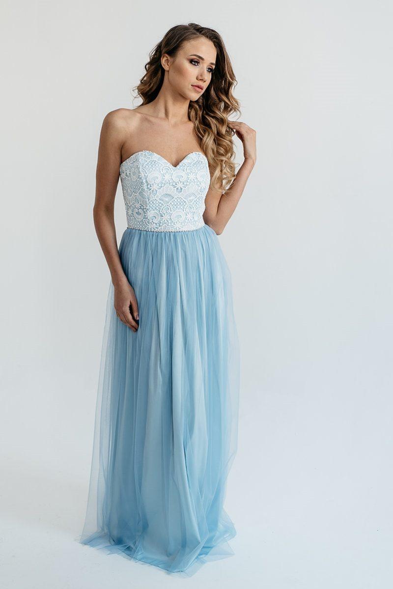 Вечернее платье-корсет голубого цвета с кружевным верхом и фатиновой юбкой купить в Воронеже