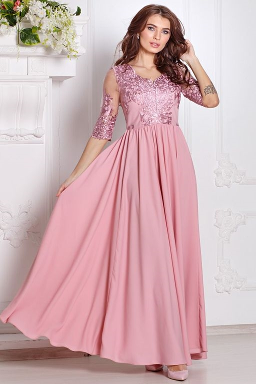 Вечернее платье цвета пыльная роза с пышной юбкой и кружевным верхом купить в Воронеже