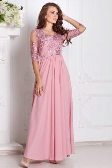 Вечернее платье цвета пыльная роза с пышной юбкой и кружевным верхом купить в интернет-магазине