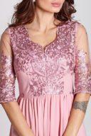 Купить Вечернее платье цвета пыльная роза с пышной юбкой и кружевным верхом в магазине женской одежды в Воронеже