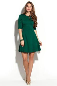Зеленое платье мини с расклешенной юбкой и рукавами 3/4 купить в интернет-магазине