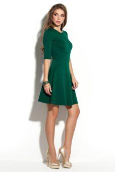 Заказать Зеленое платье мини с расклешенной юбкой и рукавами 3/4 с бесплатной доставкой по России