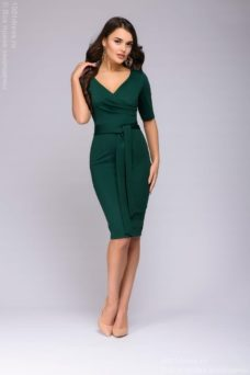 Зеленое платье с вырезом купить в интернет-магазине