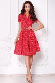 Красное платье миди с рубашечным верхом и морским принтом купить в интернет-магазине