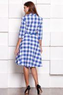 Купить Платье миди белого цвета в синюю клетку с пышной юбкой и рукавами 3/4 магазине женской одежды в Воронеже