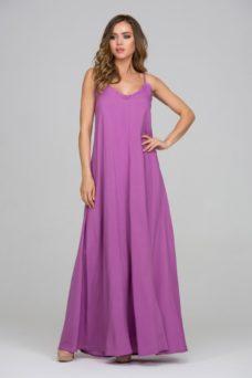 Купить Длинный сарафан пурпурного цвета с оригинальной спинкой с примеркой