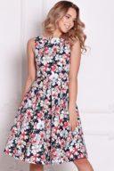 Темно-синее платье миди с цветочным принтом без рукавов купить в интернет-магазине