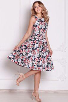 Темно-синее платье миди с цветочным принтом без рукавов заказать с бесплатной доставкой