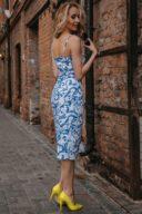 Белое платье-футляр с цветочным принтом из хлопка на тонких бретелях купить с примеркой