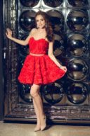Короткое платье из крупных роз красного цвета с открытым верхом купить в интернет-магазине