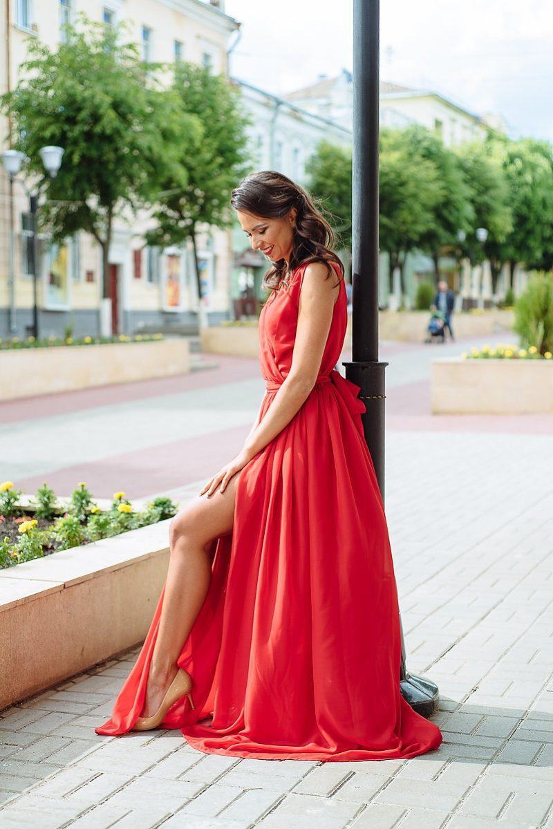 Красное платье в пол в греческом стиле из шифона купить в интернет-магазине