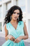 Купить Мятное платье в пол в греческом стиле из шелка с бесплатной доставкой