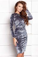 Бархатное платье-футляр серого цвета с драпировкой и длинными рукавами купить в интернет-магазине