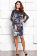 Бархатное платье-футляр серого цвета с драпировкой и длинными рукавами заказать с примеркой