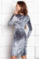 Купить Бархатное платье-футляр серого цвета с драпировкой и длинными рукавами с бесплатной доставкой