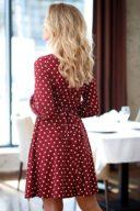 Купить Короткое платье с запахом цвета марсала в горошек с бесплатной доставкой