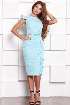 Платье-футляр ментолового цвета длины миди с драпировкой и воланами заказать с примеркой