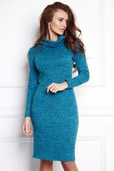Платье-водолазка длины мини бирюзового цвета купить в интернет-магазине