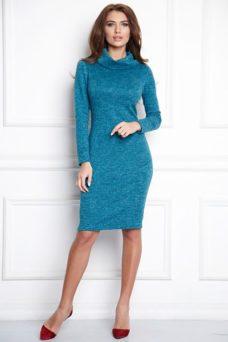 Платье-водолазка длины мини бирюзового цвета заказать с примеркой