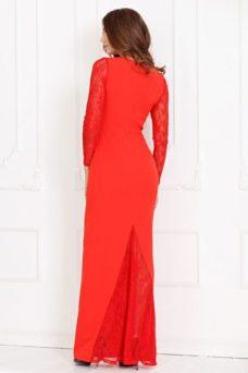 Вечернее красное платье прямого кроя с отделкой гипюром заказать с примеркой