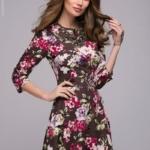 Длинное платье шоколадного цвета с цветочным принтом dm00206fc-6