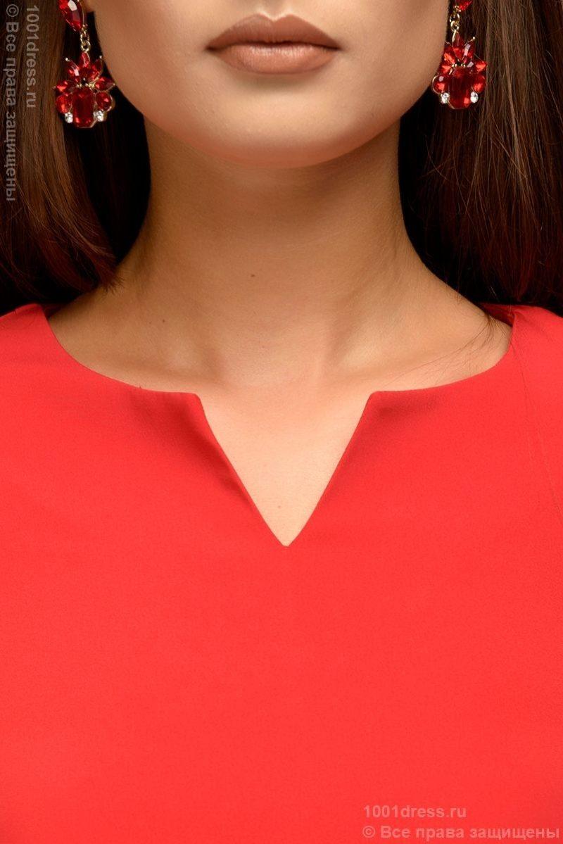 Красное платье-футляр с рукавами 3/4 dm00568rd-4