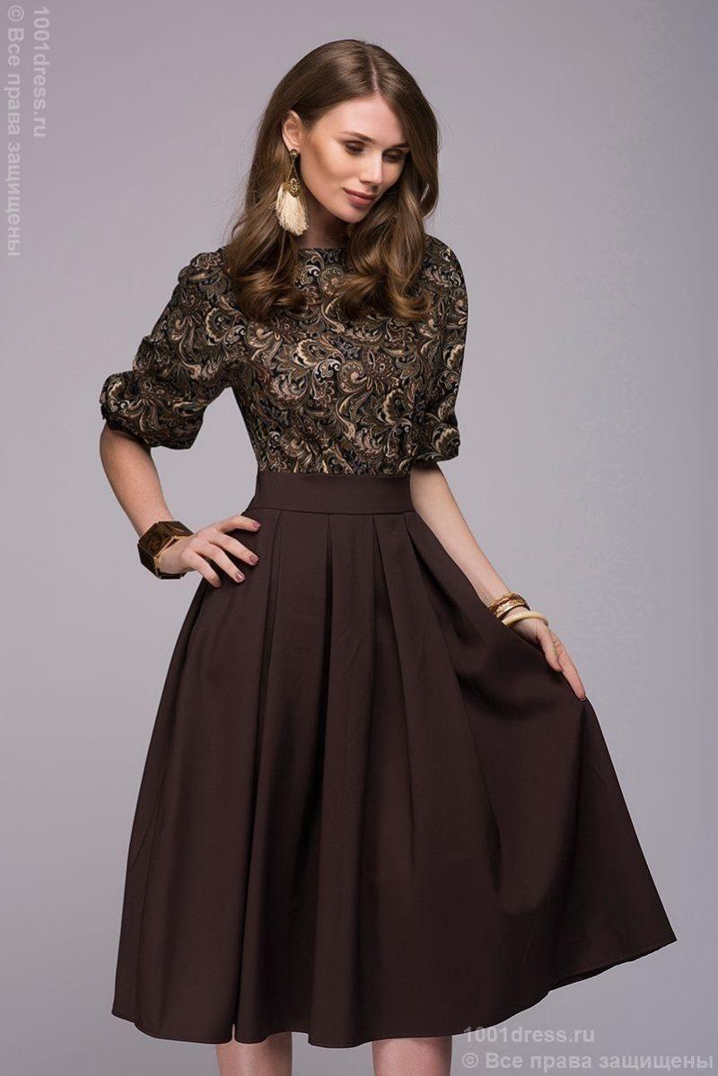 935f7dd8d1b Заказать Коричневое платье миди с рукавом