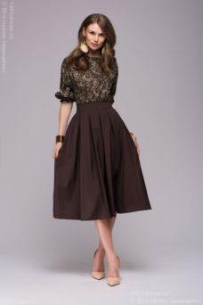 4b73e993edf Купить Коричневое платье миди с рукавом