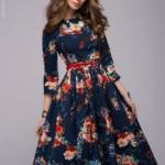 Синее платье миди с цветочным принтом dm00219bl-3