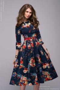 Заказать Синее платье миди с цветочным принтом с бесплатной доставкой по России