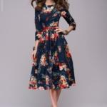 Синее платье миди с цветочным принтом dm00219bl-4